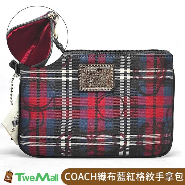 COACH織布POPPY藍紅格紋手拿包