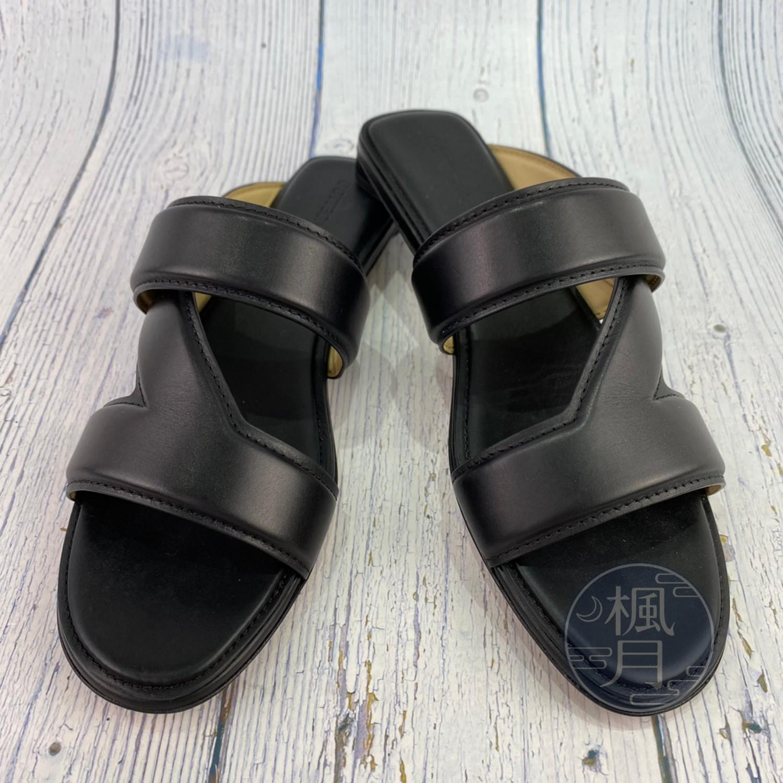 BRAND楓月 Bottega Veneta BV 黑色 設計感 交叉 皮革 方形腳跟 低跟拖鞋 平底鞋 35.5號