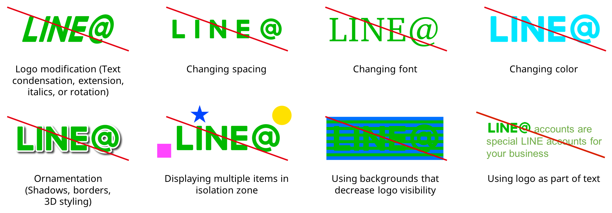 Logo modification, changing spacing/font/color, ornamentation, displaying items in isolation zone, using backgrounds that decrease logo visibility, using logo as part of text are prohibited
