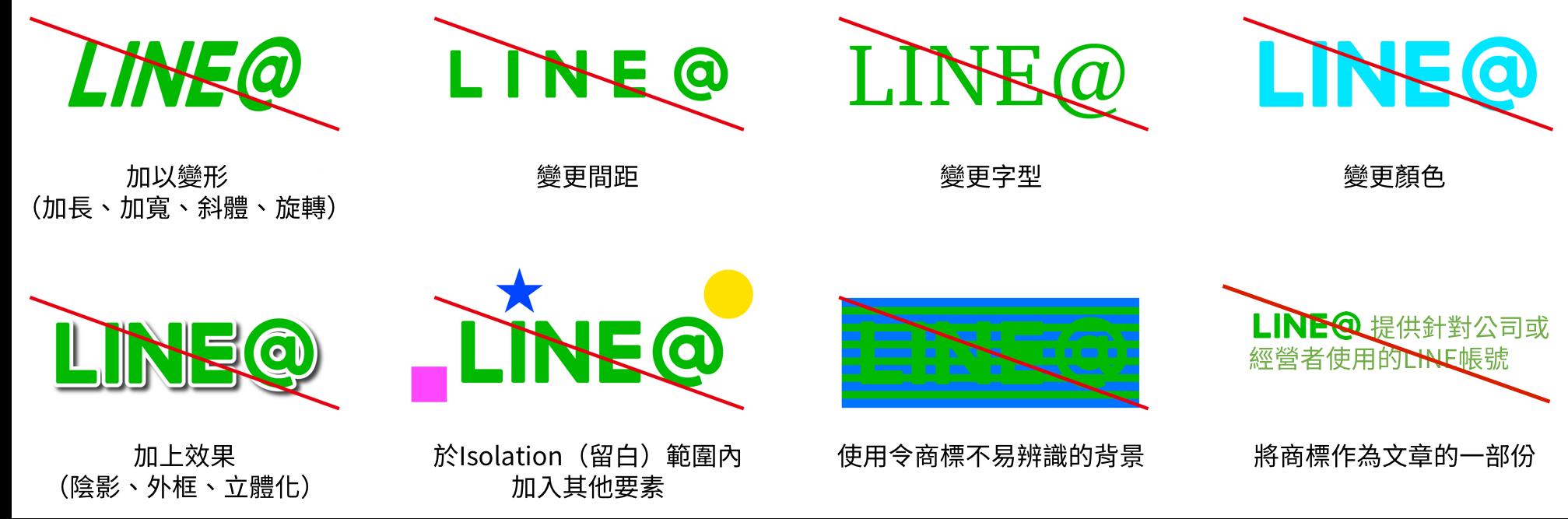 禁止事項、加以變形、變更間距、變更字型、變更顏色、加上效果、於Isolation(留白)範圍內加入其他要素、使用令商標不易辨識的背景、將商標作為文章的一部份
