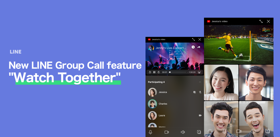 Updated Line Group Call Screen Displays More Faces And Allows Co Viewing Of Shared Screens And Youtube Videos Line Corporation News