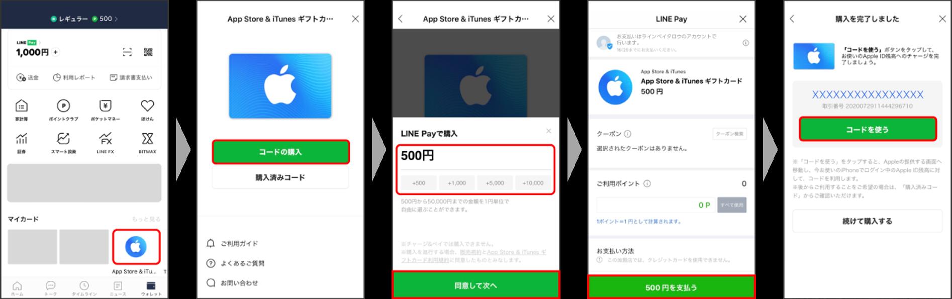 LINEPay_Appleギフトカード_購入方法